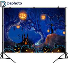 DePhoto Photography Backdrops Cartoon Halloween Backdrop Castle Pumpkin Background