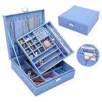 High Quality Two Layers Lint Wooden Jewelry Box Organizer Display Storage Case with Lock