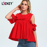 LIEENZY Red Women Blouse O Neck Sleeveless Falbala Sleeve Cute Lovely Womens Elegant Blouse For 2016