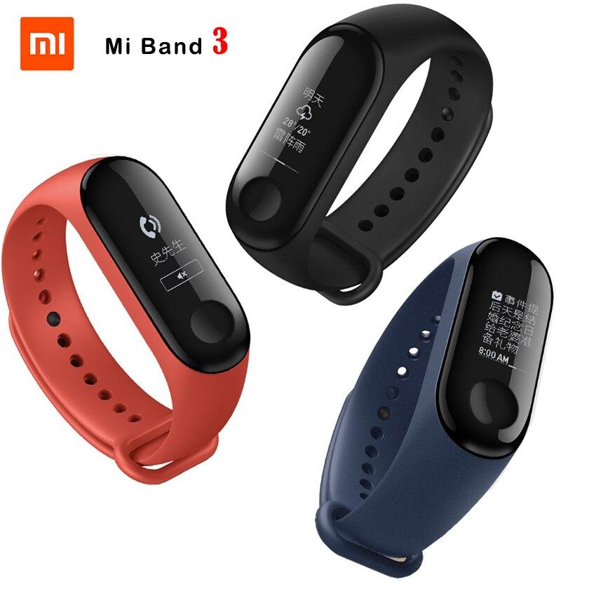 Fitness Bracelet Xiaomi Mi Band 3 CallerID Waterproof OLED Touch Screen Weather Forecast Clock Mi band 3 + Original Wristband