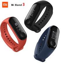 피트니스 팔찌 Xiaomi Mi Band 3 CallerID 방수 OLED 터치 스크린 일기 예보 시계 Mi band 3 + Original Wristband