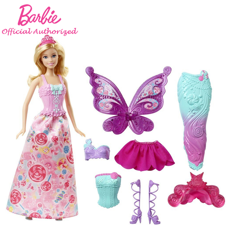 Barbie Original Brand Collection Doll Fairytale Beautiful Baby Toy Dress Up Butterfly Barbie Boneca Mode DHC39 Free Shipping кукла barbie fairytale checklane asst dolls фея 10 см v7050