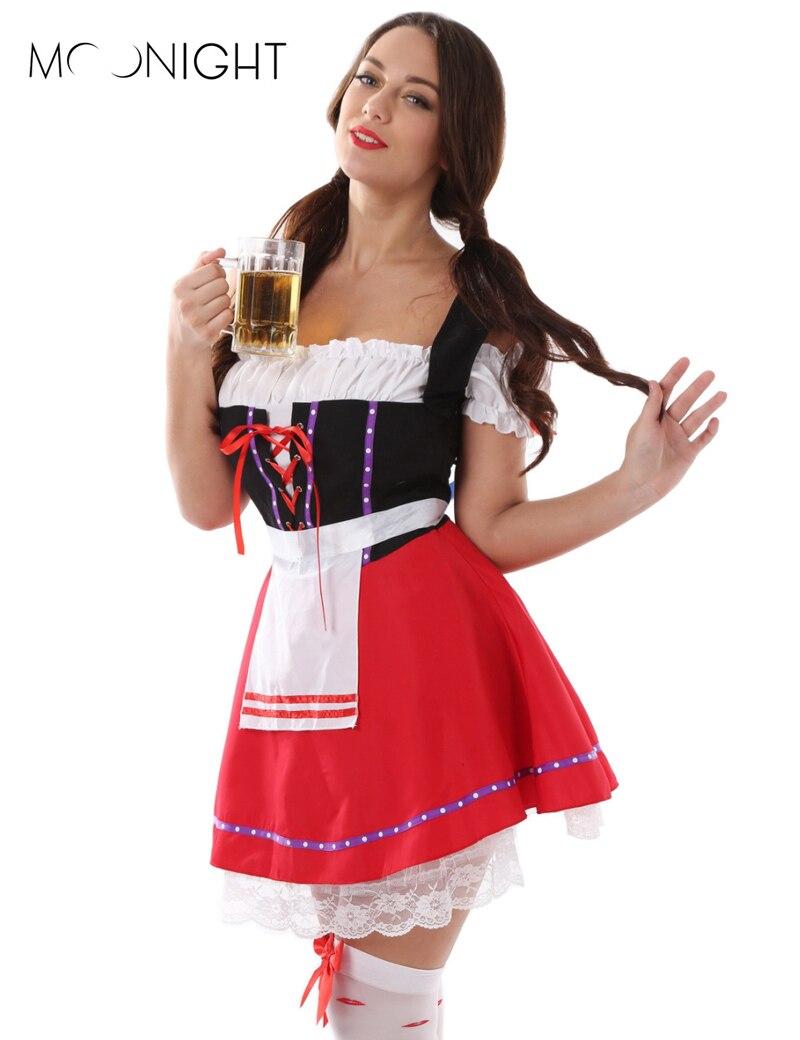 MOONIGHT Most Popular Women's Oktoberfest Costume Fancy Dress Beer Costume Plus Size Halloween Costume M  XL 2XL 3XL