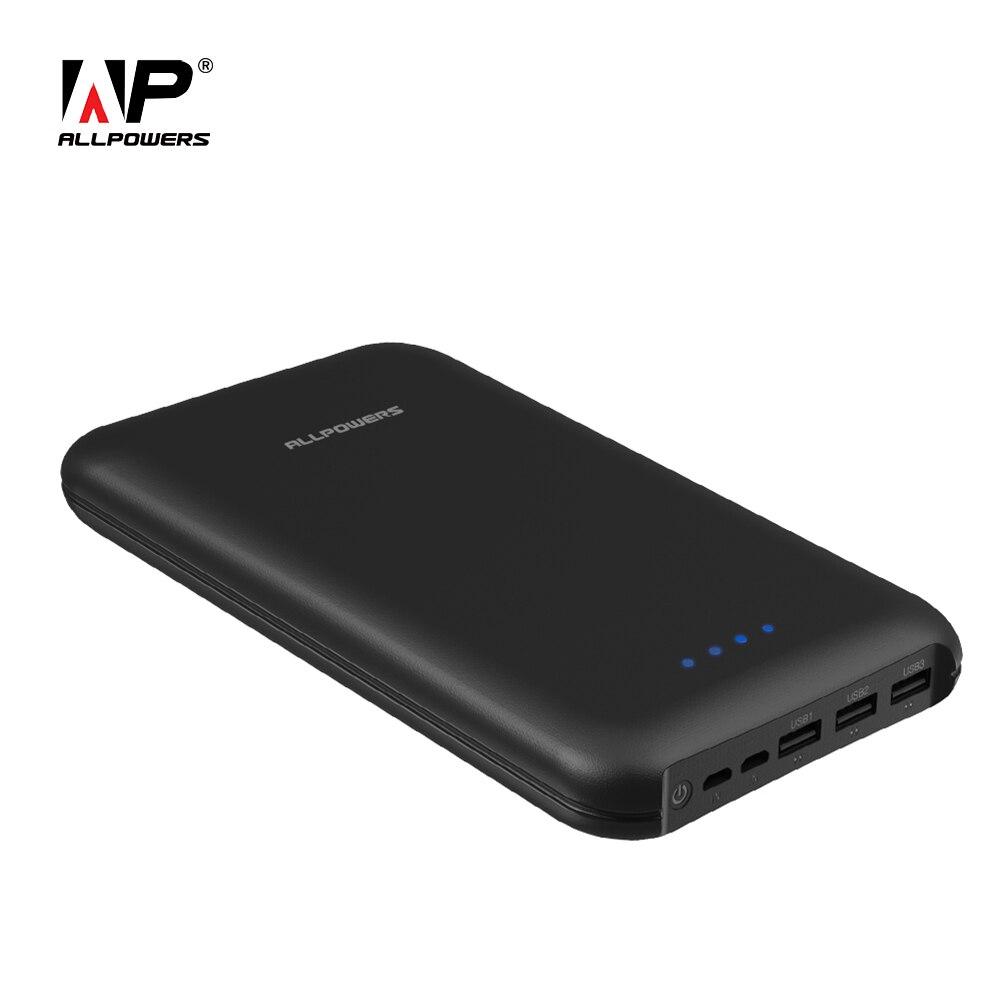 ALLPOWERS 30000 mAh Banco de Potência Telefone Portátil Bateria Externa com Saída 3 2 Entrada Rápida de Carregamento para o Telefone Móvel iphone