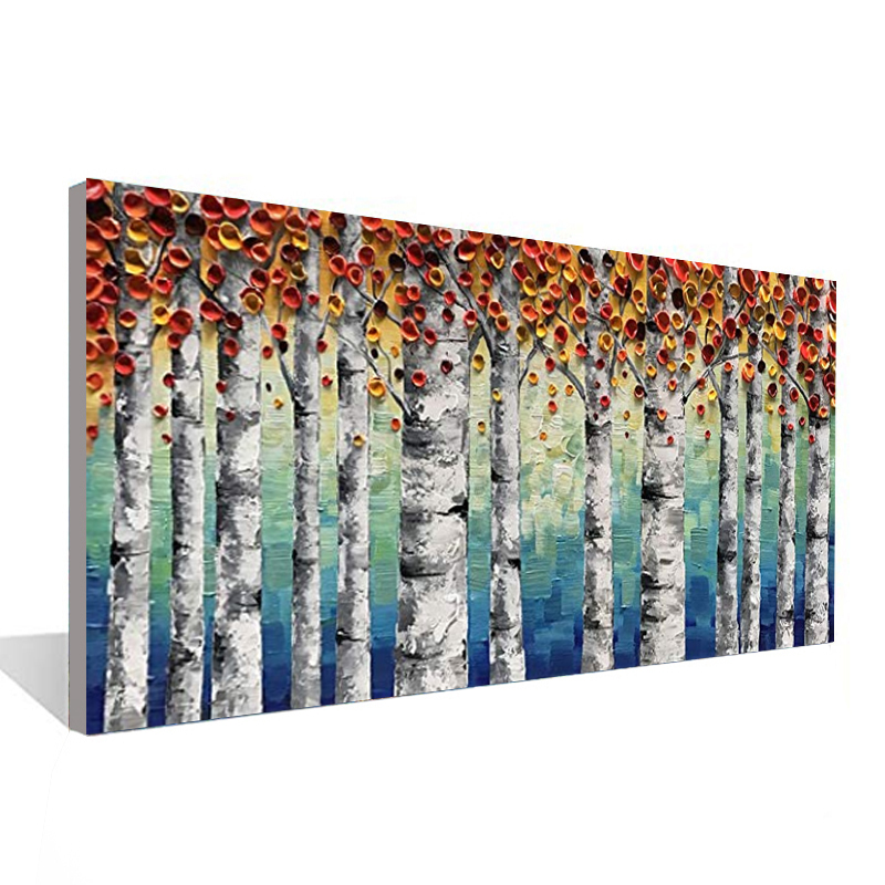 100% Hand-painted Oil Painting Birch Forest Landscape Canvas Painting Living Room Bedroom Decoration Painting 24*48 Inch