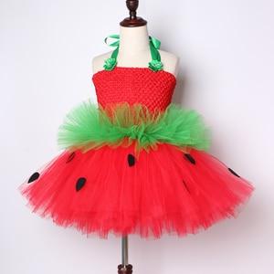 Image 3 - Cute Strawberry Tutu Dress Red Green Tulle Flowers Princess Girls Birthday Party Dress Children Kids Christmas Halloween Costume