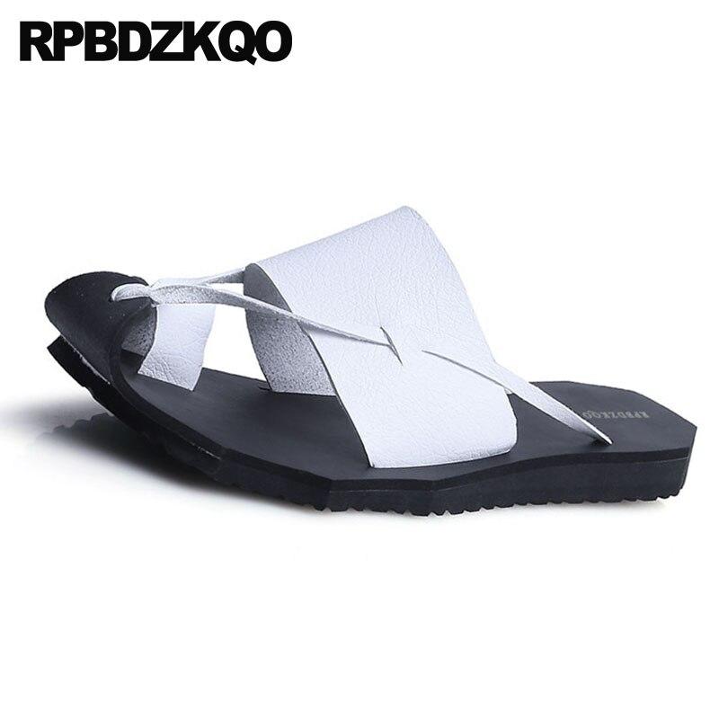Branco Deslizar Verão marrom Preto Couro Sandálias Respirável 2019 Laço Homens Moda Dedo Plana À D' Sapatos Chinelos branco Água Pé Tira Do Prova Slides De Sobre 7BFwpqSOF