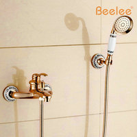 Beelee BL6004R Wall Mount Bathtub Faucet Golden Two Cristal Handles Bathtub Shower Mixer Tap Rose Golden