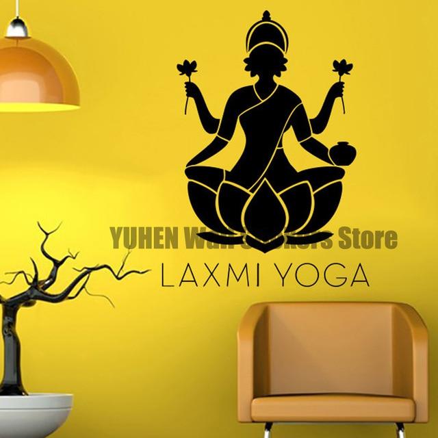 Laxmi Yoga Wall Decal Vinyl Sticker Decals Home Decor Buddha Namaste  Mandala Indian Ganesh Lotus Flower