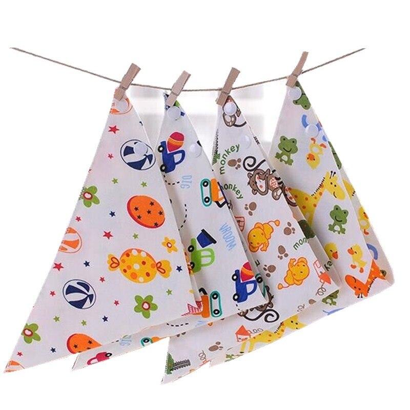 50pcs/Lot High Quality Double Layers Cotton Baby Bibs Burp Cloths Lovely Cartoon Character Animal Bandana Dribble