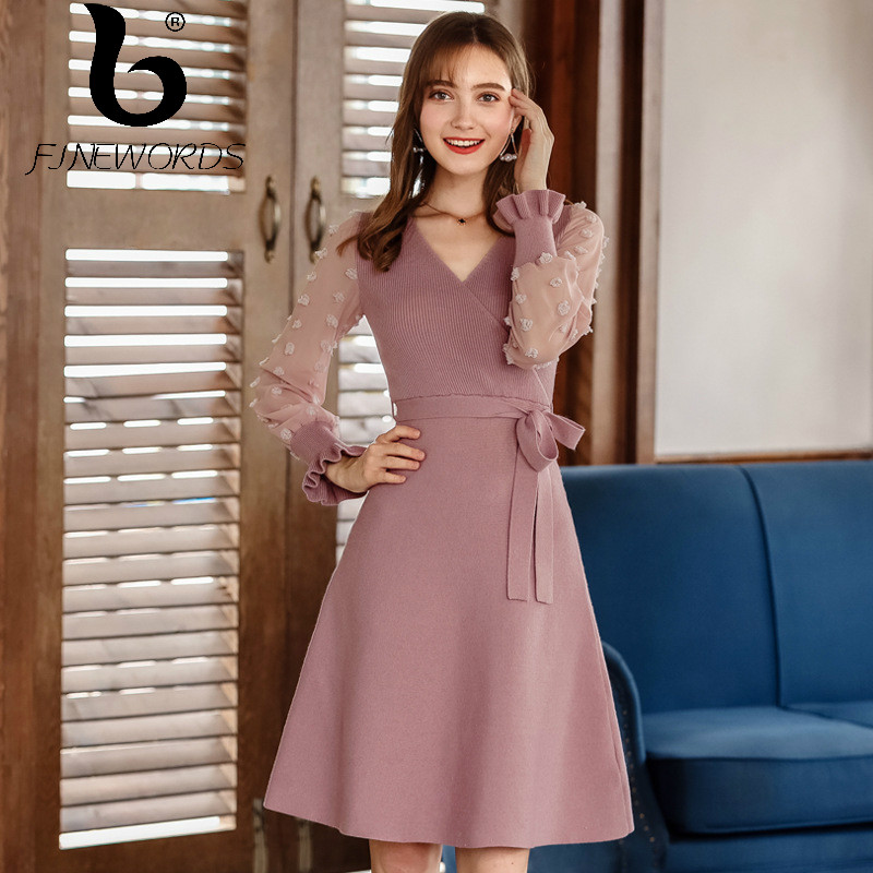 3938ab42658ca FINEWORDS Fashion Pink Elegant V neck Christmas Dress Party Long Sleeve  Vintage Knitted Dress Korean Style