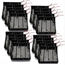 20pcs/lot MasterFire High Quality Battery Storage Case Cover Plastic 4 x 18650 Batteries Box Holder Black With 6 Wire Leads new high quality storage case lot of 6 white hard plastic case holder storage box for 18650 16430 battery bs
