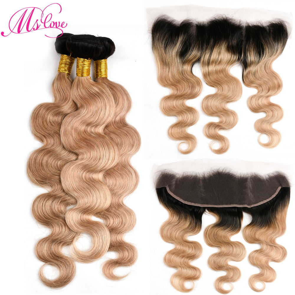 Ms Love Tb 27 Dark Root Blonde Brazilian Body Wave Bundles With Lace Frontal Closure Remy