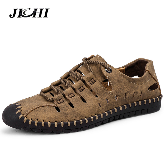 2019 New Fashion Style Leather Spring Casual Shoes Men Handmade Vintage Loafers Flats Hot Sale Moccasins Big Size 38-48