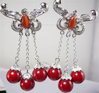 Brand New High Quality Fashion Picture Fine Design 3 Red Shell Pearl Beads Earrings