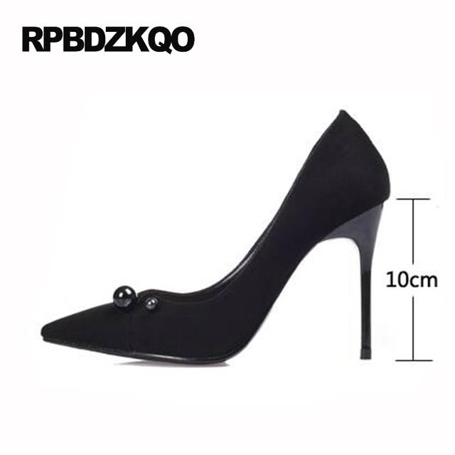 450ce4367b US $45.26 36% OFF|11 43 Stiletto Pointed Toe Women Black Super Shoes Ultra  European 3 Inch Catwalk High Heels Strange Plus Size Suede Extreme 10-in ...