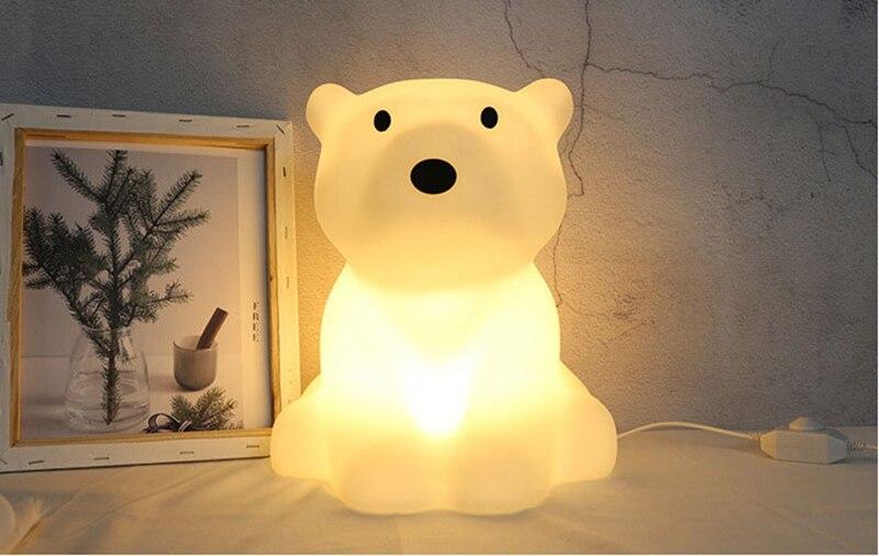 Polar Bear LED Night Light Swivel Dimmable Novel Gift for Kids Sleeping Warm White Baby Lamp Silicone Indoor Decoration Light (3)