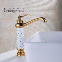 Basin Faucets Euro Gold Washbasin Faucet Luxury Tall Bathroom Basin Taps Single Handle Vanity Single Hole Mixer Water Taps E