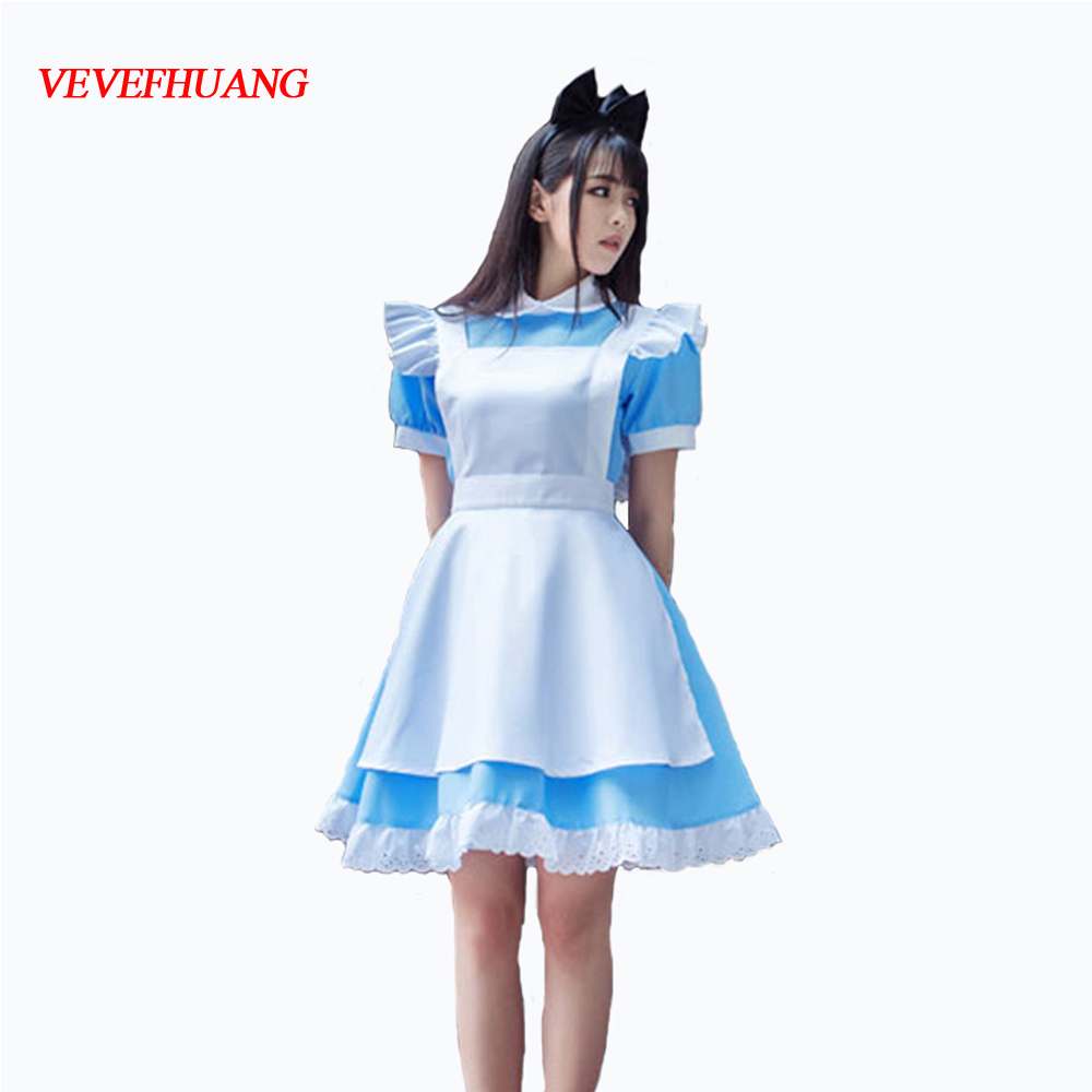 VEVEFHUANG Alice In Wonderland Party Cosplay Costume Anime Sissy Maid Uniform Sweet Lolita Dress Halloween Costumes For Women
