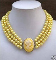 3Row Yellow Pearl Necklace Cameo Beauty Clasp 7 8mm>Selling jewerly free shipping