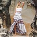 S.gloris 3 Colors Chic Summer Bow Print Asymmetrical Women Skirts Triangle Pattern Hi-lo Wrap Maxi Skirt Beach Boho Long Skir