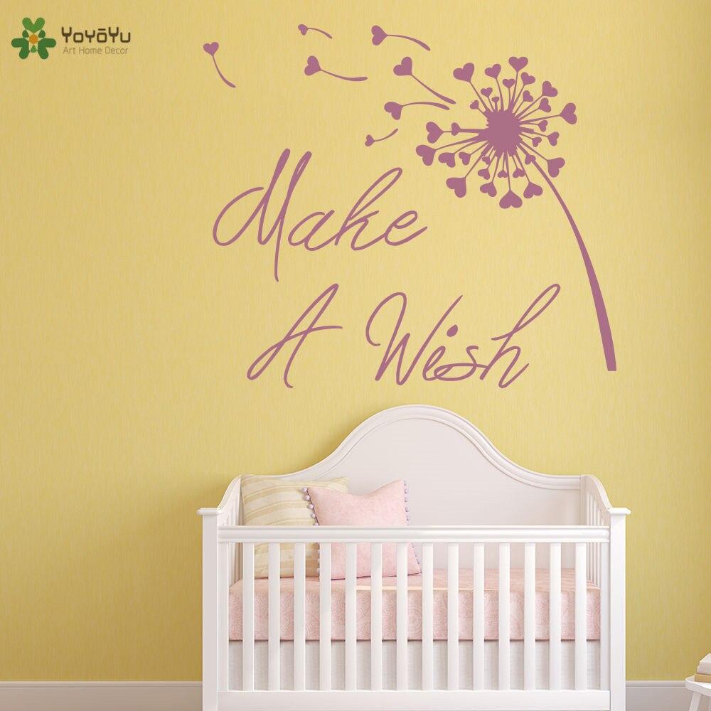 YOYOYU Wall Decal Inspirational Quote Make A Wish Vinyl Wall Sticker ...