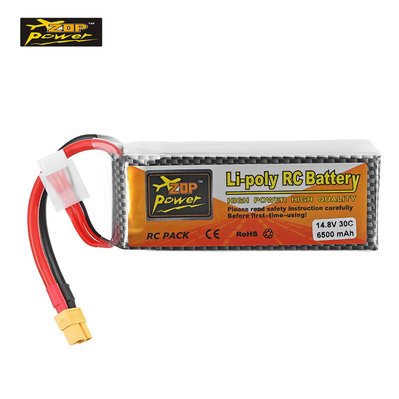 High Quality ZOP Power 14.8V 6500mAh 30C 4S XT60 Plug Rechargeable Lipo Battery RC Quadcopter Car Multicopter Spare Parts