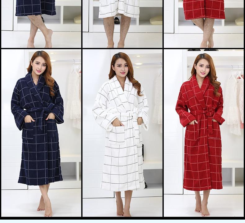 2016 Winter hot pure cotton satin plaid bathrobes robe Unisex long-sleeve terry bathrobes thicken home casual sleepwear pajamas