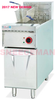 Vertical Electric 1 Tank Fryer 2 Basket With Timer 28L Capacity French Fries Duck Deep Fryer