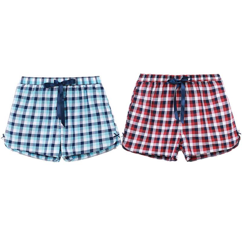 478375a2877b CILER Women Cotton Sleep Bottoms Casual Pajama Shorts Plaid Print Elastic  Waist Stretchy Loose Plus Size