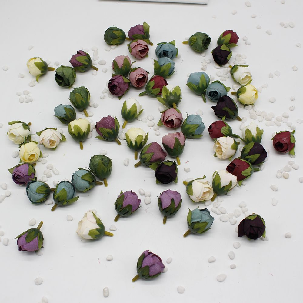 5pcs/lot Silk Rose Bud Artificial Flower For Wedding Party Home Plants Decoration Mariage Cloth Hat Accessories Fake Flowers