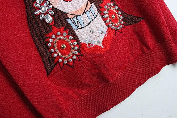 Europe manual nail bead glasses beauty jacquard Earrings jewel studded winter rabbit Rongshan T-shirt bottoming sweaters