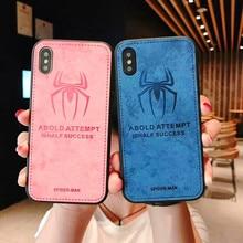 Avengers Superhero Batman Spiderman Phone Cases For iphone X XS MAX XR 6 6S 7 8 Plus Wolf Bat Spider Cloth Pattern Case Cover