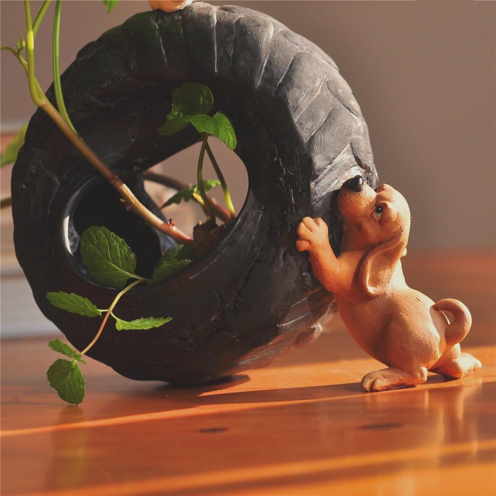 Image 3 - Everyday Collection Cute Dog Animal Decorative Flowerpot Succulent Artificial Green Plants Fairy Garden Pot Modern Home Decor-in Flower Pots & Planters from Home & Garden