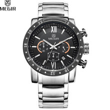 MEGIR Famous Brand Men Watches Top Quality Luxury Watches Military Chronograph 24 Hours Men Stainless steel