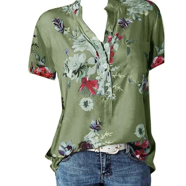Elegant women's shirt printing large size casual shirt fashion V-neck short-sleeved shirt blouse 4