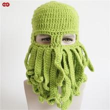 C&Z Handmade Knitted toy animal caps novely Octopus beard Child hats winter fancy earflap neckerchief skullies Balaclava