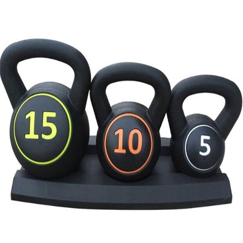 Ensemble entier 30 LBS caoutchouc couvert bouilloire cloche professionnel unisexe levage haltère Fitness équipement d'entraînement avec Base