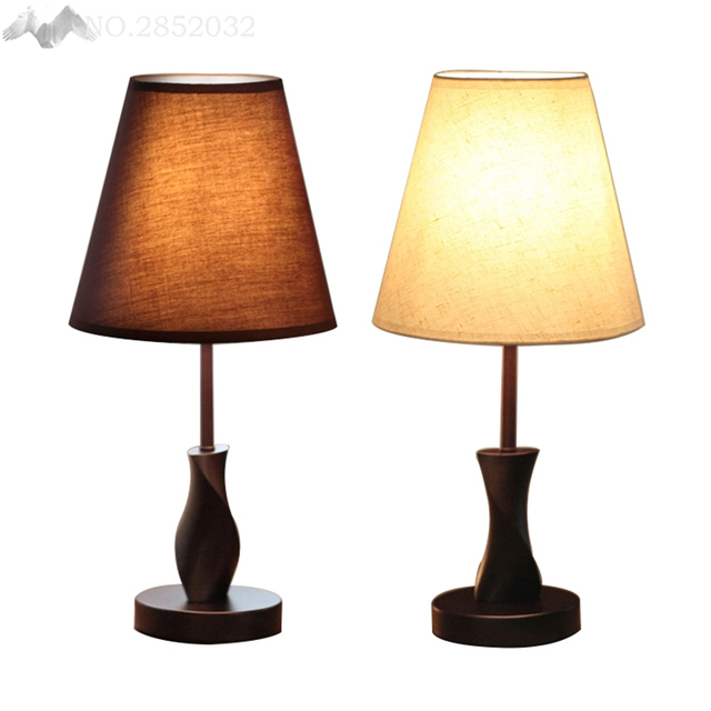 Modern bedside Wood table lamps wooden base for living room ...
