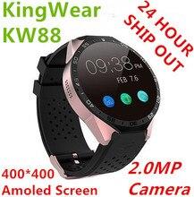 "(EN STOCK) Kingwear KW88 3G reloj Inteligente 1.39 ""Amoled 400*400 3G SmartWatch 3G Llamando 2.0MP Cam podómetro Del Ritmo Cardíaco PK X5 D5"
