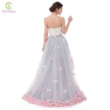 Vestidos SSYFashion Sexy Strapless Sleeveless Short Front Back Long Lace Flower Evening Dress Bride Banquet Formal Party Gown