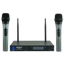 Freeboss FB VM02 Microfoni Professionali A Doppio Canale Palmari Metallo Borsette Mic Sistema di Karaoke Festa di Famiglia Microfono Senza Fili