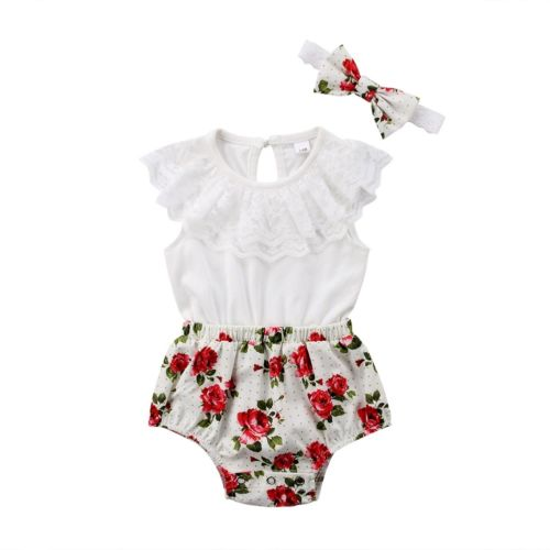Summer Newborn Toddler Baby Girls Clothes Lace Romper Floral Sleeveless Jumpsuit Headband Outfits
