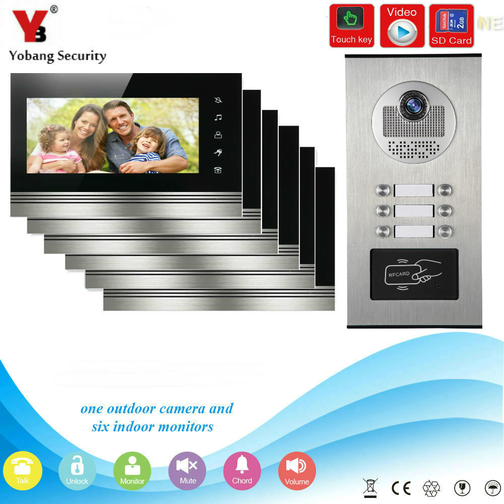 YobangSecurity 7 Inch Video Door phone Doorbell Camera Intercom System RFID Card With Video Recording SD Card For 6 Apartment yobangsecurity 7 inch wire video door phone doorbell intercom system waterproof outdoor camera with raincover intercom system
