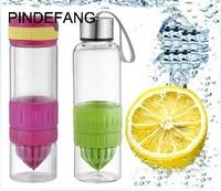 PINDEFANG 700ml Multifunction Creative 24.6 fl.oz Large Capacity Glass Manual Juicer Sports water Bottle Lemon Fruit Juicer