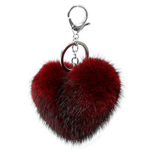 Luxury Gift Mink Fur Heart Shape Keychain Keyring Pom pom Fluffy  Key ring bag Pendant gift car pendant Handbag charm Key Holder недорого