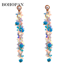 Long Sequin Earrings For Women Pearl Design Elegant Colour Shiny Dangle Romantic oorbellen brincos 2018