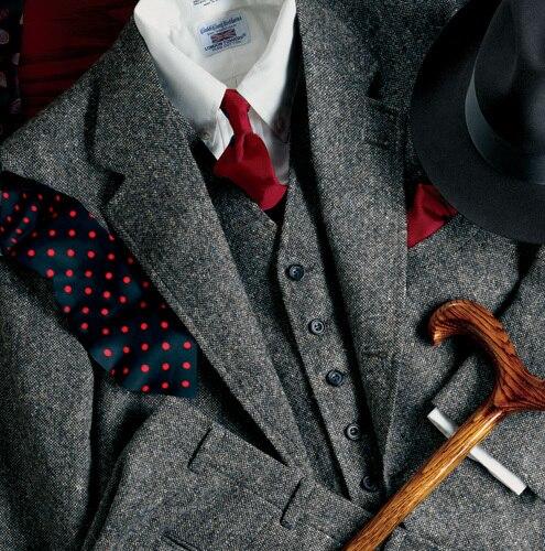 2018 Tailored New Grey Tweed Suits Men Formal Skinny Gentle Prom Blazer Winter Marriage Tuxedo 3 Piece Jacket+Vest+Pants Terno 1