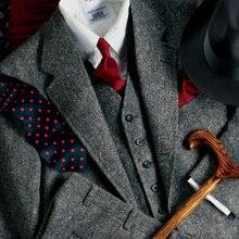 Строгие новые серые Твидовые костюмы для мужчин, Официальный облегающий нежный блейзер для выпускного вечера, Зимний свадебный смокинг, 3 предмета, пиджак+ жилет+ брюки, Terno