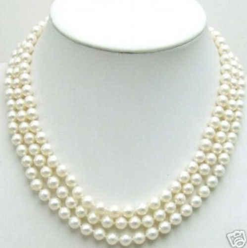 Aaa + 3行8ミリメートルホワイト真珠のネックレス14 kゴールドクラスプ^^^@^高貴なスタイルナチュラル細かいジュエ(b0322)